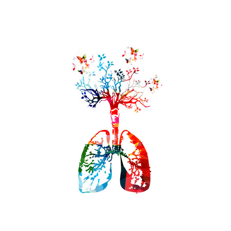 Colorful healthy lifestyle template design background, vector illustration. Human lungs anatomy with tree, human internal organs and respiratory system, medical science, healthcare, health, prevention