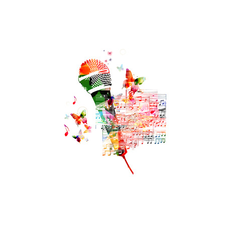 music staff: Creative music style template vector illustration, colorful microphone with music staff and notes background. Poster, brochure, banner, flyer, card, placard, concert, music festival, music shop design