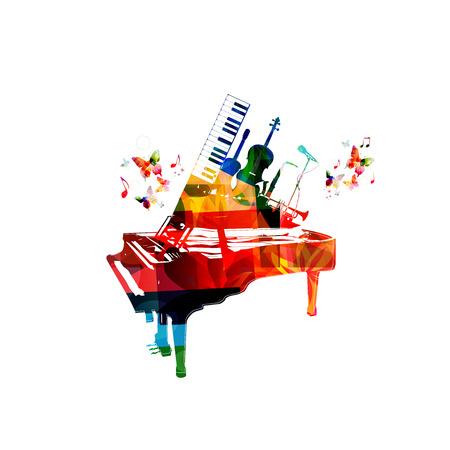 Muziek stijl template vector illustratie, kleurrijk piano, microfoon, trompet, saxofoon, synthesizer, gitaar, cello. Poster, muziek concert, festival, muziek winkel en muziekinstrumenten ontwerp