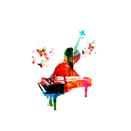 Creative music concept vector illustration, colorful piano and violoncello, music instruments with music notes. Design for poster, brochure, music concert, festival, music shop, music style template