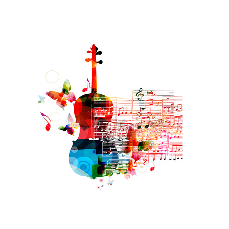 violoncello: Creative music style template vector illustration, colorful violoncello, music instrument with music staff and notes background. Poster, brochure, banner, concert, music festival, music shop design Illustration