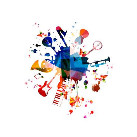 Muziek template vector illustratie, muziekinstrumenten achtergrond, gitaar, piano toetsenbord, franse hoorn, saxofoon, trompet, cello, contrabas, banjo, traditionele Portugese gitaar, bouzouki