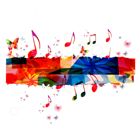 Creative muziek template vector illustratie, kleurrijke muziek nota's, muziek achtergrond. Muzikaal ontwerp, muziek wenden symbolen. Poster, brochure, banner, flyer, overleg, muziek festival, muziek winkelinrichting