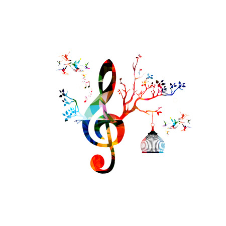 Creative music template vector illustration, colorful G-clef with music notes, music background. Musical design symbols for poster, brochure, banner, flyer, concert, music festival, music shop design Vettoriali