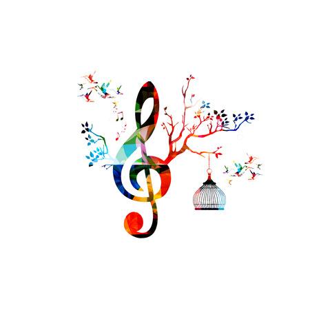 Ilustración de vector de plantilla de música creativa, colorido G-clef con notas musicales, música de fondo. Símbolos de diseño musical para póster, folleto, pancarta, folleto, concierto, festival de música, diseño de tienda de música