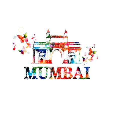 india city: Gateway of India, Mumbai landmark design for poster, brochure, banner. Mumbai architecture template vector illustration, travel background. Colorful India famous city monuments, Mumbai skyline symbol