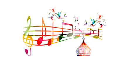 Creative music template vector illustration, colorful G-clef and music notes, music background. Musical design symbols for poster, brochure, banner, flyer, concert, music festival, music shop design