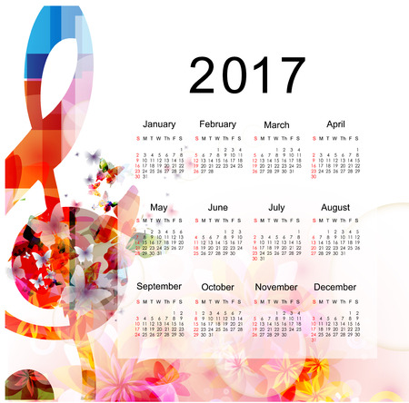 crotchet: Calendar planner 2017 design template with colorful music notes. Music themed calendar poster, week starts Sunday. Organization management concept, calendar isolated, vector illustration background Illustration