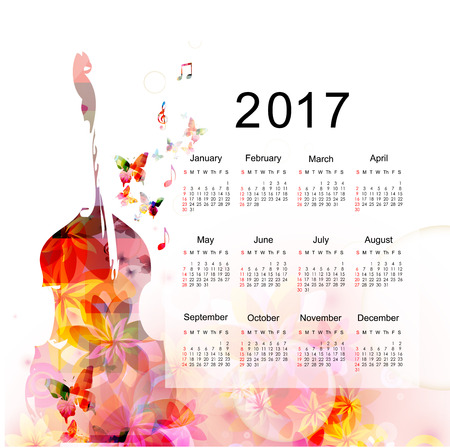Calendar planner 2017 design template with colorful violoncello. Music themed calendar poster, week starts Sunday. Organization management concept, calendar isolated, vector illustration background Illustration