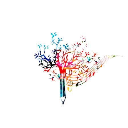 Bunte Bleistift Baum Vektor-Illustration mit Musiknoten. Entwurf für kreatives Schreiben, Geschichten, Bloggen, Bildung, Buchcover, Artikel und Website-Content zu schreiben, Text, Musik zu komponieren
