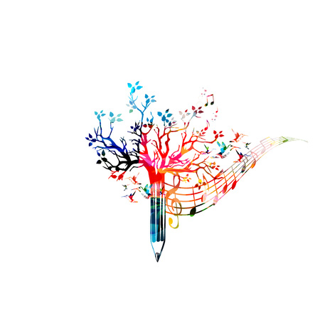 Colorful pencil tree vector illustration with music notes. Design for creative writing, storytelling, blogging, education, book cover, article and website content writing, copywriting, composing music Illustration