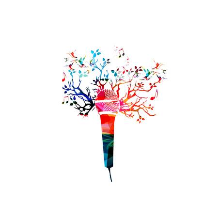 創造的な音楽スタイル テンプレート ベクトル イラスト、カラフルなマイク、音符と音楽の背景。党のポスター、音楽のパンフレット、バナー、チ