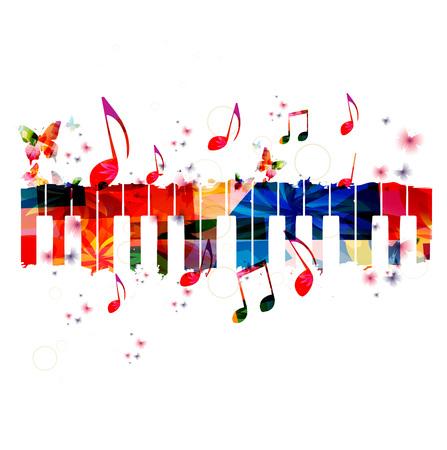 Kreative Musik-Stil-Vorlage Vektor-Illustration, bunten Tasten eines Klaviers, Musikinstrument Hintergrund mit Musiknoten. Musik Poster, Broschüren, Banner, Flyer, Konzert, Musikfestival, Musikladen Design Vektorgrafik