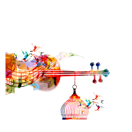 Music Template Vector Illustration Colorful Viloncello Creative Instrument Background With Notes
