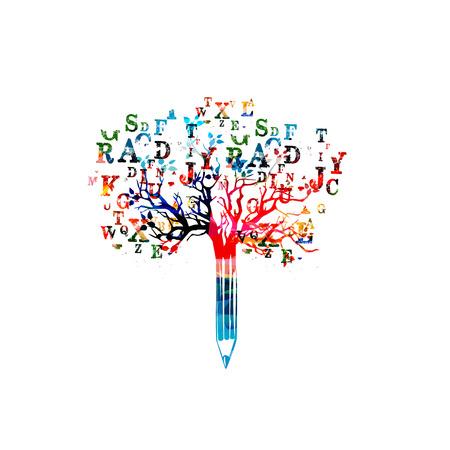Bunte Bleistiftbaum-Vektorillustration mit Gussbuchstaben. Gesetztes Design für Nachrichten, kreatives Schreiben, Geschichtenerzählen, Bloggen, Bildung, Buchcover, Schreiben von Artikeln und Website-Inhalten, Texten