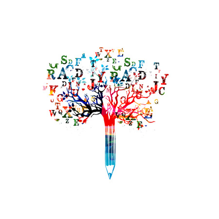 crayon arbre Colorful illustration vectorielle avec des lettres de police. Typeset conception pour les nouvelles, écriture créative, la narration, les blogs, l'éducation, la couverture du livre, l'article et le site Web rédaction de contenu, copywriting