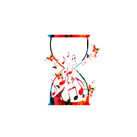 Illustration vectorielle de modèle de musique, notes de musique colorées à l'intérieur de sablier, symboles musicaux et fond de marques. Affiche musicale, brochure, bannière, flyer, concert, festival de musique, design de musique Vecteurs