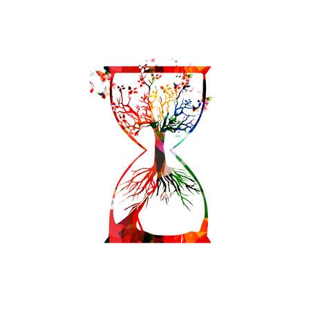 Árbol colorido dentro de la ilustración de vector de reloj de arena. Diseño para la conciencia ecológica, la sostenibilidad ecológica, la preservación de las plantas, la protección de la naturaleza, el ahorro de la biodiversidad, el concepto ecológico
