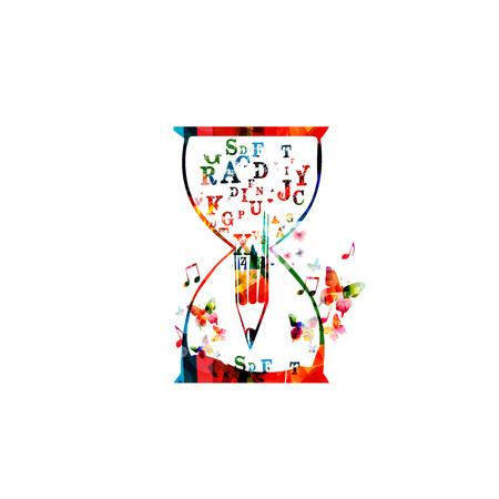 Bunte Bleistift mit Schrift Buchstaben Vektor-Illustration. Alphabetische Design für Nachrichten, kreatives Schreiben, Geschichten, Bloggen, Bildung, Buchcover, Artikel und Website-Content zu schreiben, Text