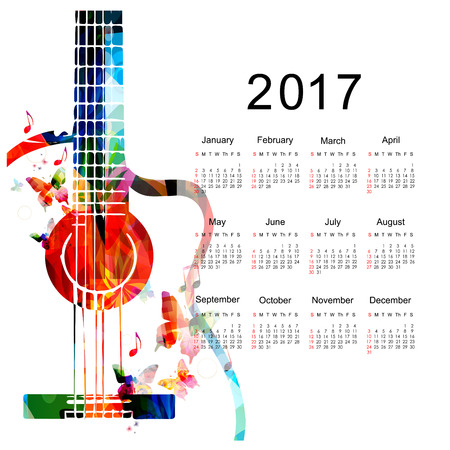 Calendar planner 2017 design template with colorful guitar. Music themed calendar poster, week starts Sunday. Organization management concept, calendar isolated, vector illustration background Illustration