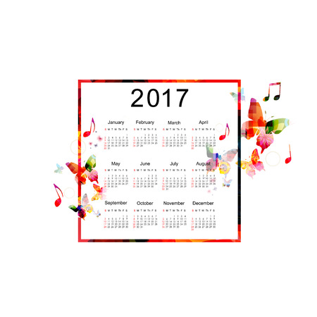 agenda year planner: Calendar planner 2017 design template with colorful butterflies. Music themed calendar poster, week starts Sunday. Organization management concept, calendar isolated, vector illustration background Illustration
