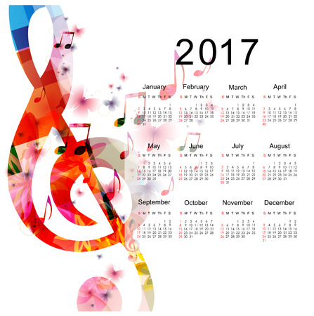 Calendar planner 2017 design template with colorful music notes. Music themed calendar poster, week starts Sunday. Organization management concept, calendar isolated, vector illustration background Illustration