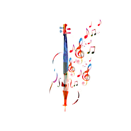 violoncello: Colorful violoncello with music notes. Music background. Music instrument poster with music notes. Cello design with g-clef. Treble clef and music notes, musical symbols with violoncello.