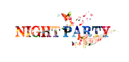 party design: Colorful typographic party background. Party poster design. Night party inscription with music notes. Night party lettering vector illustration. Party text design isolated. Night party invitation