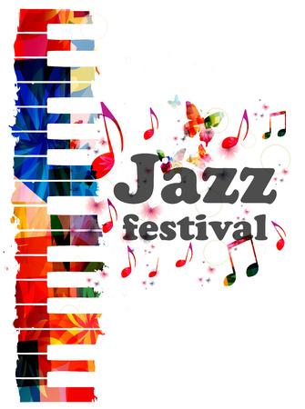 Illustrazione vettoriale di tasti piani colorati, sfondo strumento musicale con note musicali. Iscrizione al festival jazz. Poster di concerti di musica jazz. Letteratura di musica jazz. Invito di eventi musicali tipografici Vettoriali