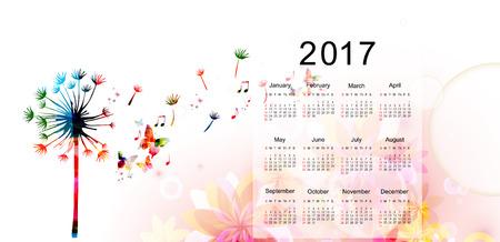 monthly planner: Calendar planner 2017 design template with colorful dandellion. Calendar poster, week starts Sunday. Calendar organizer. Calendar isolated, vector illustration background. Monthly calendar layout