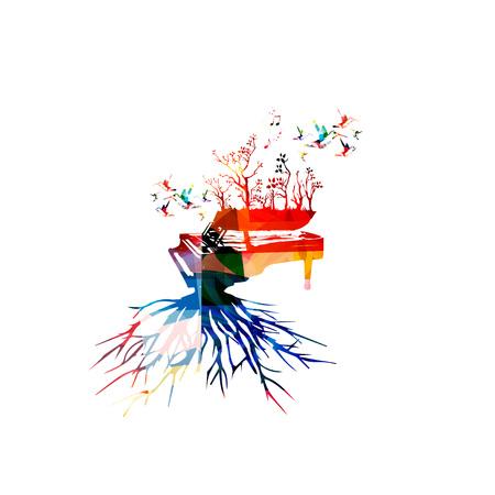 Kleurrijke piano met kolibries. Muziek achtergrond. Muziekinstrumentposter met muzieknoten. Piano met boomwortel. Muzieknoten, ontwerp van muziekapparatuur. Piano met geïsoleerde bomen. Piano vector Stock Illustratie