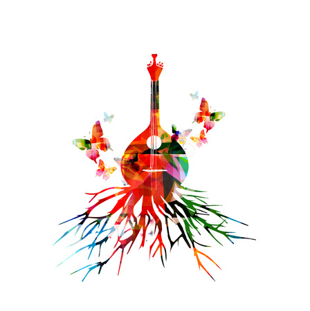 Colorful Portuguese fado guitar with butterlies. Music background. Music instrument poster with music notes. Portuguese guitar with tree root. Music equipment design. Portuguese fado guitar vector Illustration