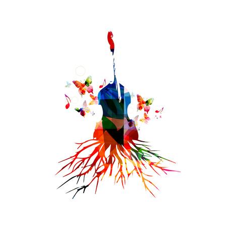 Bunte Violoncello mit Musiknoten. Musik Hintergrund. Musikinstrumente Poster mit Musiknoten. Cello mit Baumwurzel. Musiknoten, Musik-Geräte-Design. Violoncello Vektor isoliert
