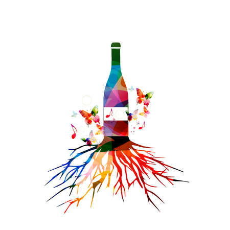aroma: Colorful wine bottle with tree root vector illustration. Alcohol drinks and beverage background. Festive celebrations, events and party design. Winery, restaurant, wine tasting design. Bottle isolated