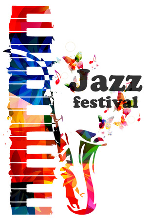 Colorful piano keys and saxophone vector illustration, music instrument background with music notes. Jazz festival inscription. Jazz music concert poster. Jazz lettering. Typographic event invitation