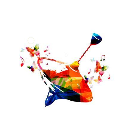 PEG colorida ilustración superior del vector. Peonza con mariposas aisladas. fondo juguete de los niños Vectores