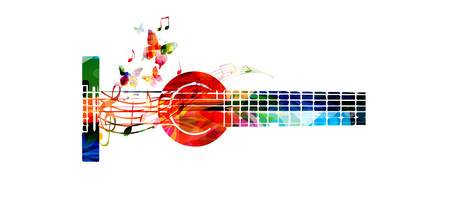 음악 노트 벡터 일러스트와 함께 화려한 기타. 음악 배경입니다. 음악 악기 포스터. 음악 이벤트에 대한 g-음자리표와 기타 디자인. 모리시 및 음악