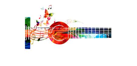 Bunte Gitarre mit Musiknoten Vektor-Illustration. Musik Hintergrund. Musikinstrument Plakat. Gitarrenentwurf mit g-Schlüssel für Musik-Event. Violinschlüssel und Noten, musikalische Symbole mit Gitarre Standard-Bild - 67214138