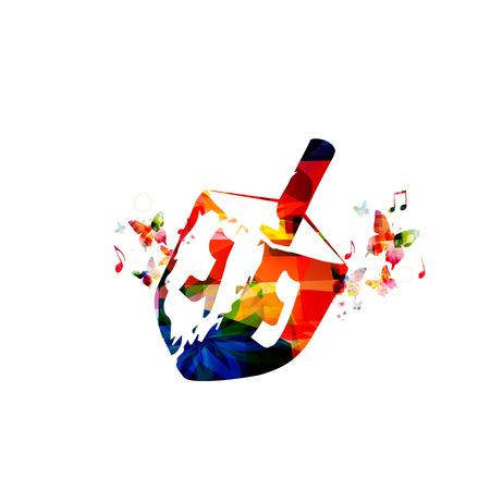 chanukkah: Colorful wooden dreidel for Hanukkah Jewish holiday. Jewish spinning top vector illustration. Religious Judaic tradition symbol isolated. Hanukkah dreidel. Wooden dreidel design with butterflies