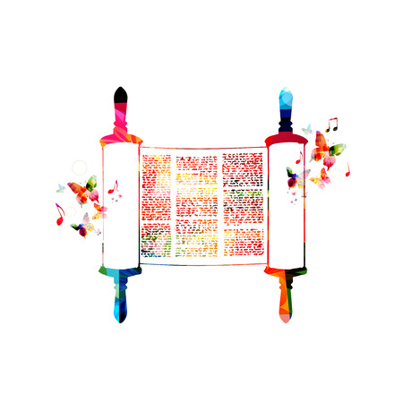 Colorful Torah scroll vector illustration. Jewish Torah with butterflies. Torah Book design. Parchment scroll symbol. Torah, Jewish scroll book isolated. Religious Judaic tradition symbol