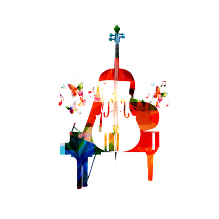 composer: Colorful piano and violoncello vector illustration. Music instruments background. Design for poster, brochure, invitation, banner, flyer, concert and festival