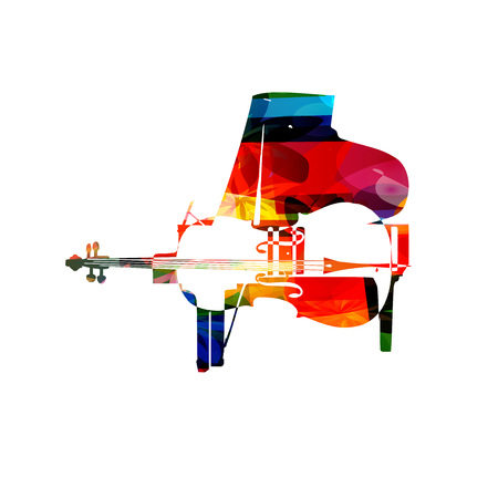 Pianoforte colorato e illustrazione violoncello vettoriale. Strumenti musica di sottofondo. Design per poster, brochure, inviti, banner, volantino, concerti e festival di Archivio Fotografico - 69224925