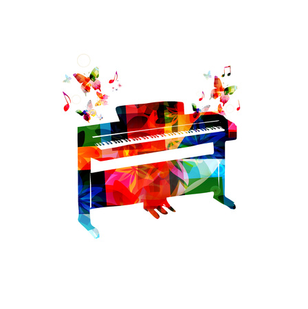 Colorful digital piano with music notes vector illustration. Music instrument background. Design for poster, brochure, invitation, banner, flyer, concert and festival
