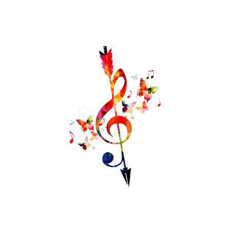 Colorful G-clef with arrow and music notes isolated. Music symbols background vector illustration. Design for poster, brochure, invitation, banner, flyer, concert and festival