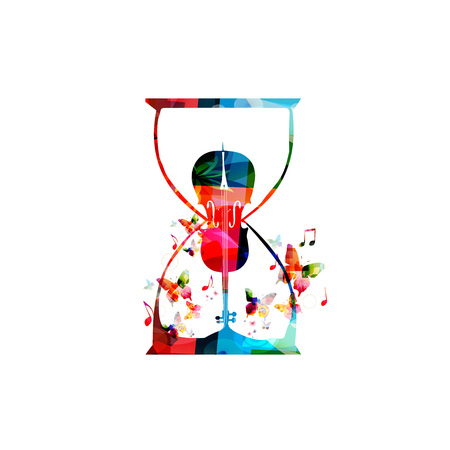 Colorful violoncello with music notes vector illustration. Music instrument background. Cello inside hourglass design for poster, brochure, invitation, banner, flyer, concert and festival