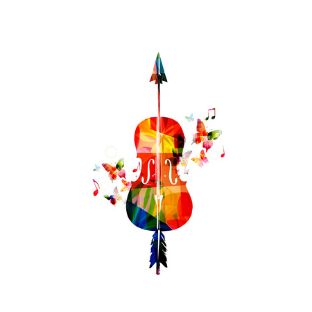 Colorful violoncello with music notes vector illustration. Music instrument background. Cello with arrow design for poster, brochure, invitation, banner, flyer, concert and festival Illustration