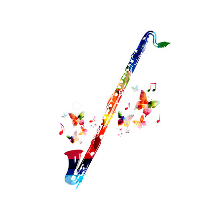Colorful cassical bass clarinet with music notes isolated. Music instrument background vector illustration. Design for poster, brochure, invitation, banner, flyer, concert and festival