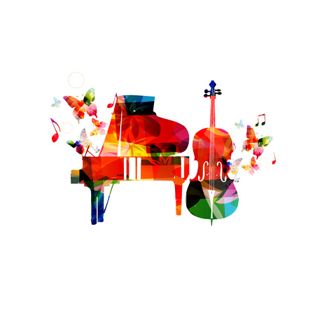 violoncello: Colorful piano and violoncello vector illustration. Music instruments background. Design for poster, brochure, invitation, banner, flyer, concert and festival