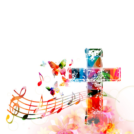christian festival: Colorful christian cross with music staff and notes isolated vector illustration. Religion themed background. Design for gospel church music, concert, choir singing, Christianity, prayer