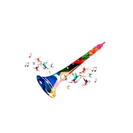 shehnai indígenas en coloridos con notas de música y colibríes aislados. Instrumento de música de fondo de la ilustración del vector. Diseño de cartel, folleto, invitación, bandera, volante, concierto y festival de música